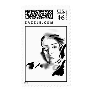 Digital Artistic Ink Woman Black & White Stamps
