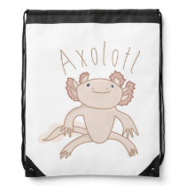 Digital Axolotl Illustration, Cute Animal Drawstring Bag