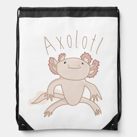 Digital Axolotl Illustration, Cute Animal Drawstring Bag | Zazzle