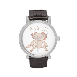 Digital Axolotl Illustration, Cute Animal Watches