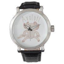 Digital Axolotl Illustration, Cute Animal Wrist Watch