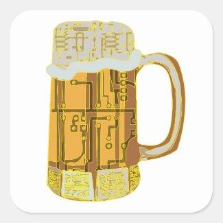 Digital Beer Mug -  Yellow Outline