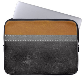 Digital Black Amber Leather Stitched Grey Strap Computer Sleeves