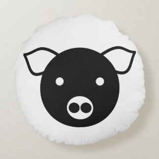 DIGITAL BLACK AND WHITE PIG ICON ROUND PILLOW