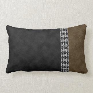 Digital Black Brown Suede and Harlequin Granite Lumbar Pillow