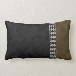 Digital Black Brown Suede and Harlequin Granite Lumbar Pillow