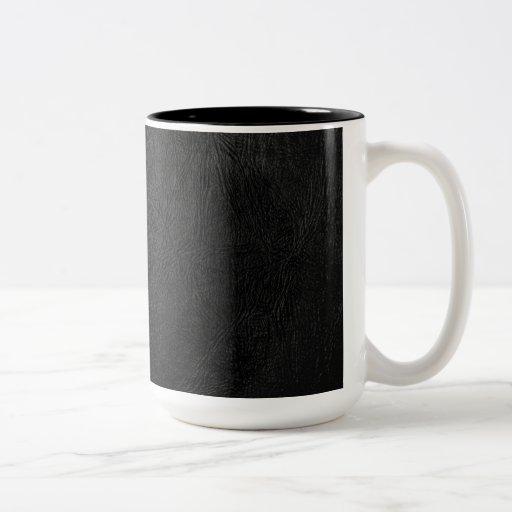 Digital Black Leather Two-Tone Coffee Mug