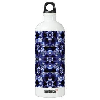 Digital Blossom print darkblue white Aluminum Water Bottle