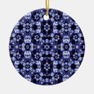 Digital Blossom print darkblue white Ceramic Ornament