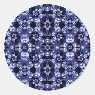 Digital Blossom print darkblue white Classic Round Sticker