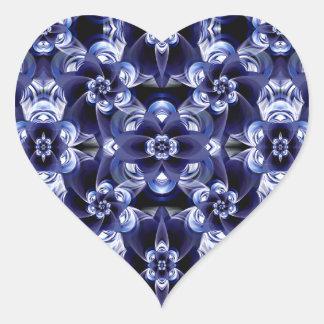 Digital Blossom print darkblue white Heart Sticker