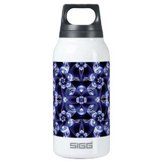 Digital Blossom print darkblue white Insulated Water Bottle