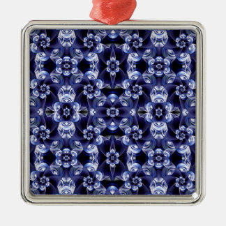 Digital Blossom print darkblue white Metal Ornament