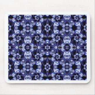Digital Blossom print darkblue white Mouse Pad