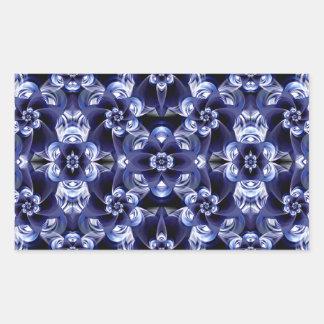 Digital Blossom print darkblue white Rectangular Sticker