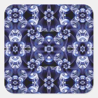 Digital Blossom print darkblue white Square Sticker