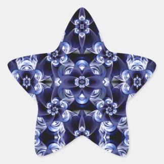 Digital Blossom print darkblue white Star Sticker