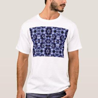 Digital Blossom print darkblue white T-Shirt