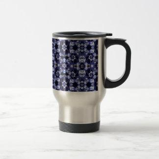 Digital Blossom print darkblue white Travel Mug