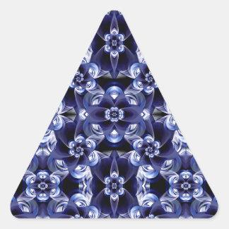 Digital Blossom print darkblue white Triangle Sticker
