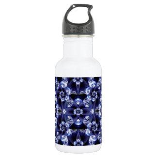 Digital Blossom print darkblue white Water Bottle