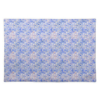 Digital Blue Bubbles on Pink Cloth Place Mat