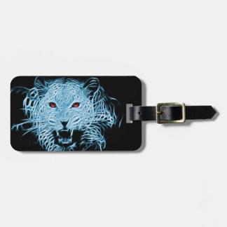 Digital blue leopard fractal bag tag