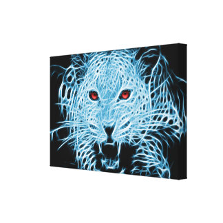 Digital blue leopard fractal canvas print