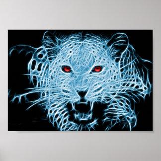 Digital blue leopard fractal poster