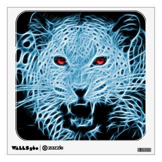 Digital blue leopard fractal wall sticker