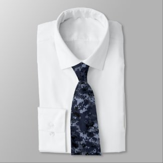 Digital Blue Military Camouflage Neck Tie