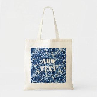 Digital Blue Military Pattern Budget Tote Bag