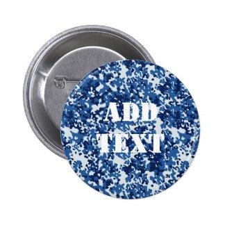 Digital Blue Military Pattern 2 Inch Round Button