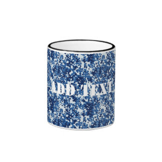 Digital Blue Military Pattern Ringer Coffee Mug