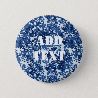 Digital Blue Military Pattern Pinback Button