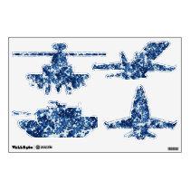 Digital Blue Military Pattern Wall Sticker