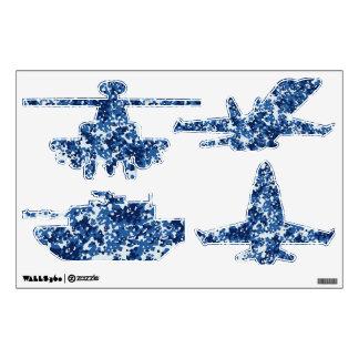 Digital Blue Military Pattern Wall Decals