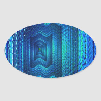 Digital blue multiple image oval sticker