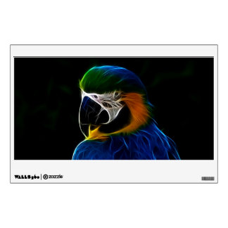 Digital blue parrot fractal wall decal