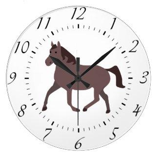 Digital Brown Horse Illustration Large Clock