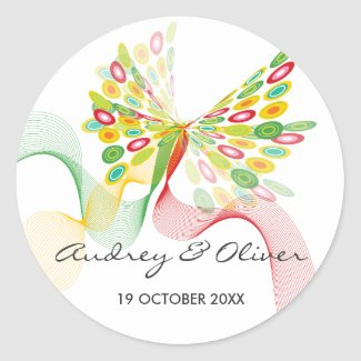 Digital Butterfly Custom Party Gift Label Sticker sticker