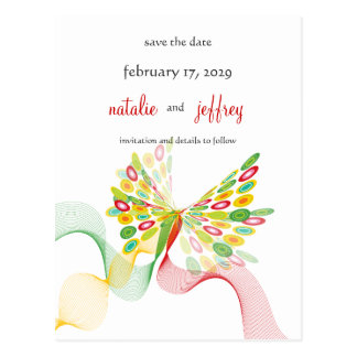 Digital Butterfly Save The Date Wedding Postcard