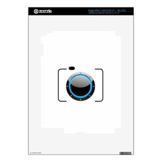 Digital camera with a blue aperture iPad 3 skins