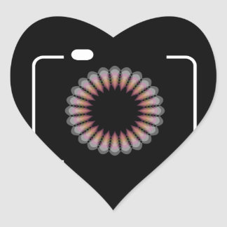 Digital camera with a floral aperture heart sticker