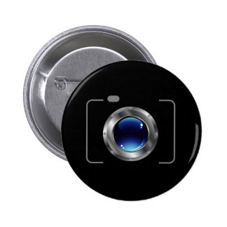 Digital camera with a glossy blue aperture pinback button
