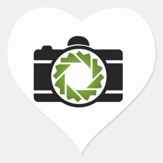 Digital camera with a green aperture heart sticker