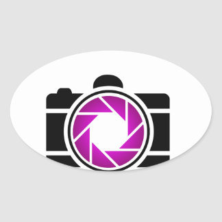 Digital camera with a purple aperture oval sticker