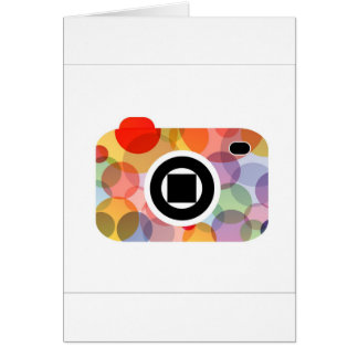 Digital camera with colorful circles card