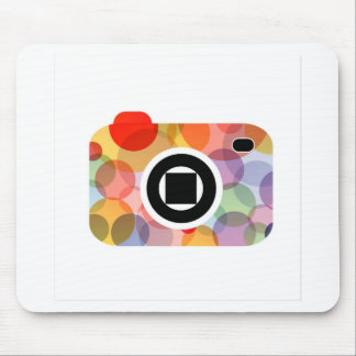 Digital camera with colorful circles mouse pad