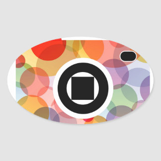 Digital camera with colorful circles oval sticker